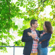 Couple hugging under a chestnut tree — Stock Photo