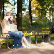 Dating couple in park — Stock Photo