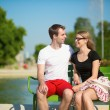 Tourists in Tuileries garden of Paris — Stock Photo #28554453