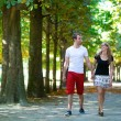 Couple in park on a summer or early fall day — Stock Photo