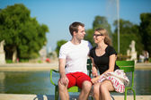 Tourists in the Tuileries garden of Paris — Stock Photo