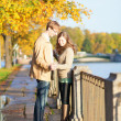 Romantic couple on a beautiful autumn day — Stock Photo