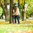 Couple kissing in park on a fall day — Foto de Stock
