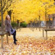 Girl enjoying beautiful fall day — Stock Photo