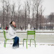 Young womin Tuileries garden on winter day — Stock Photo #29662385