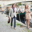 Couple on a Parisian embankment — Stock Photo