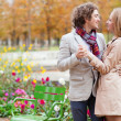 Dating couple in Paris on a fall day — Stockfoto