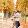 Dating couple in Paris on a fall day — 图库照片
