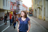 Girl on a street of Vilnius — Stock Photo