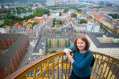 Girl on top of Vor Frelsers Kirke — Stock Photo