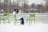 Woman in Tuileries garden — Stock Photo
