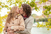 Romantic couple at fall — Stock Photo
