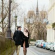 Couple walking in Paris — Stock Photo