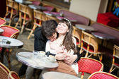 Couple in a cafe — Stock Photo
