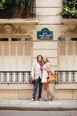 Par på en parisisk gata — Stockfoto