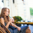 Girl drinking coffee  — Stock Photo
