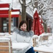 Girl in an outdoor cafe — Stok fotoğraf