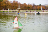 Toy boats in the Luxembourg Garden of Paris — Stock Photo