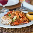 Grilled squid with seafood and vegetables — Stock Photo