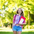 College student with books and folders — Stock Photo
