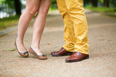 Closeup of human legs during a date — Stock Photo
