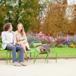Happy couple in Tuileries garden of Paris — Stock Photo #36946609