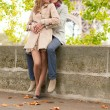 Romantic dating couple in Paris — Zdjęcie stockowe #36946867