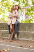 Romantic dating couple in Paris — Stock Photo
