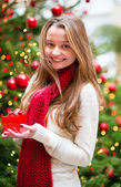 Girl with a Christmas present — Foto Stock