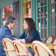 Stock Photo: Couple in outdoor Parisirestaurant