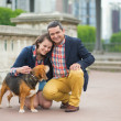 Stock Photo: Couple with their dog