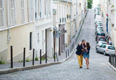 Couple walking in Paris together — Stock Photo