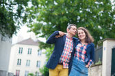 Couple walking in Paris on a summer day — Stock Photo