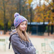 Stock Photo: Amused girl in Gardens of Luxembourg in Paris