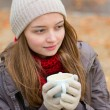 Stock Photo: Girl drinking coffee in outdoor Parisicafe