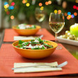 Delicious salad served for two — Stock Photo