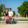 Dating couple in Tuileries garden of Paris — Stock Photo #39071059