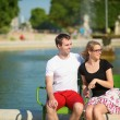 Dating couple in Tuileries garden of Paris — Stock Photo #39071193