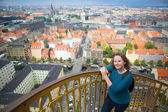 Girl on the top of Vor Frelsers Kirke — Stock Photo