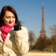Happy beautiful woman in Paris — Stock Photo
