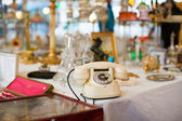 Vintage telephone on a Parisian flea market — Stock Photo