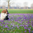 Woman taking photos of crocuses — Stock Photo