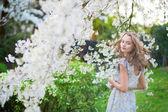 Beautiful woman in blooming cherry garden — Stock Photo