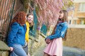 Piękne dziewczyny na czacie na paryskiej uliczce — Zdjęcie stockowe