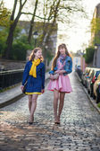 Two beautiful girls walking together and chatting — 图库照片