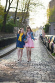 Girls walking together and chatting — Stock Photo