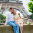 Just married couple hugging near the Eiffel tower — Stock Photo #47853929