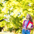 Student girl outdoors going back to school — Stock Photo #47932991