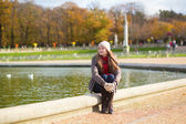 Girl in the Gardens of Luxembourg of Paris — Stock Photo