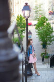 Girl in pink dress on Montmartre in Paris — Stock Photo